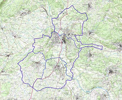 carte avec délimitation des 4 communes